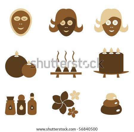 A collection of aromatherapy spa objects. - stock vector