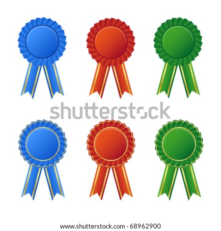 A collection of awards icon colored blue, red and green - stock vector