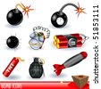 A collection of bomb icons. - stock vector