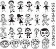 A collection of 23 cartoon characters and faces drawn in the style a child would draw. - stock vector