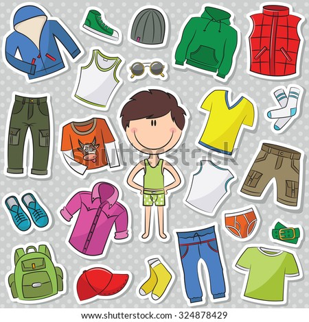 A collection of casual clothes for boys - stock vector