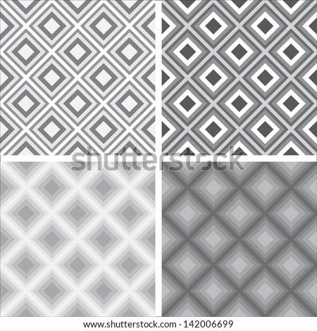 A collection of classic traditional geometric monochromatic chessboard seamless patterns made of square shapes, for textile or design, vector illustration  - stock vector