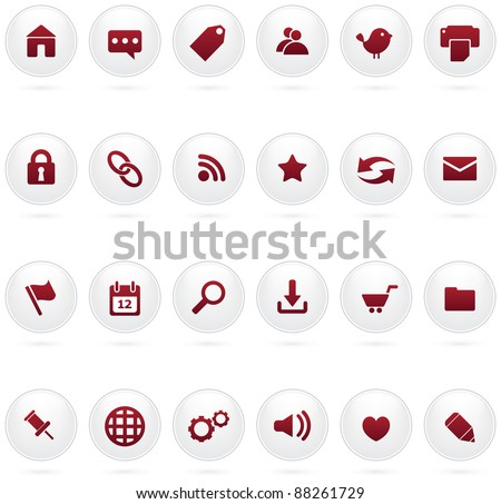 A collection of clean and minimal white web and internet icons, with shadow. - stock vector
