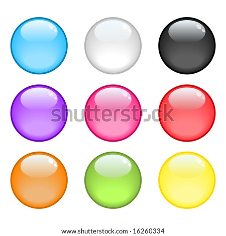 A collection of 9 colorful glossy spheres - stock vector
