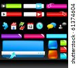 A collection of colourful web design icons, boxes and buttons. - stock vector