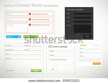 A collection of contact form templates and scribbles for websites - stock vector