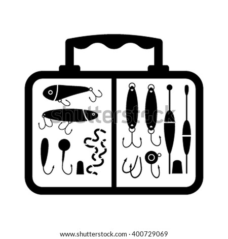 A collection of different fishing gear, designed in a modern style flat vector silhouette. The float, gear, float, rod, fisherman equipment in the box.  collections of fishing tackle. - stock vector