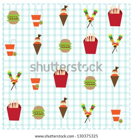 A collection of fair drinks and sweets. - stock vector