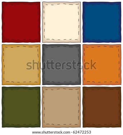 a collection of folk art style patchwork squares - stock vector