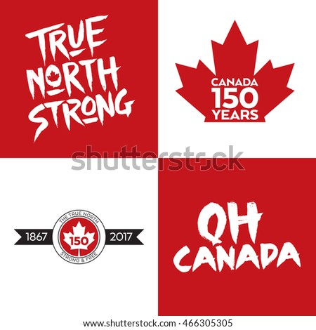 A collection of four Canadian vector icons celebrating Canada's 150th year of confederation.