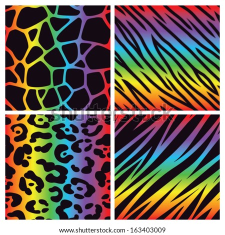 A collection of four different rainbow colored animal print backgrounds. Seamlessly repeatable. Eps 10 Vector. - stock vector