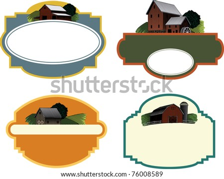 A collection of four labels each featuring a woodcut style illustration of a farm scene. - stock vector