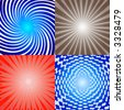 A collection of four (4) light bursts, vector illustration - stock photo