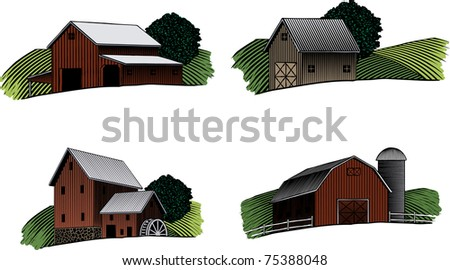 A collection of four separate woodcut style barn scenes. - stock vector