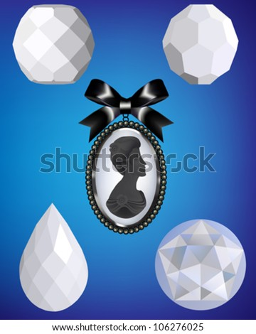 A collection of four white bead vectors and a cameo silhouette with a black ribbon.  Each illustration has been grouped for ease of use. - stock vector