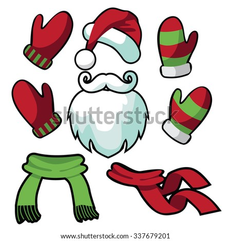 A collection of fun santa hat, mustache, beard, scarves and mittens. EPS 10 vector - stock vector