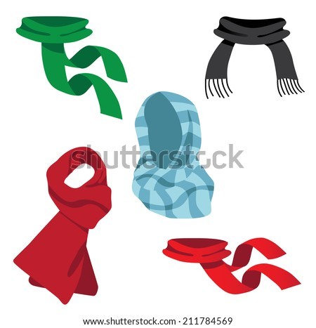 A collection of fun scarves. EPS 10 vector. - stock vector