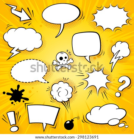 A collection of funny balloons for comic speeches and also sound effects vector illustrations - stock vector