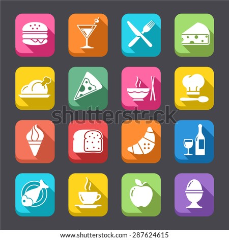 """A collection of funny Icons regarding all type of foods and drinks, in a colorful, """"flat"""" look - stock vector"""