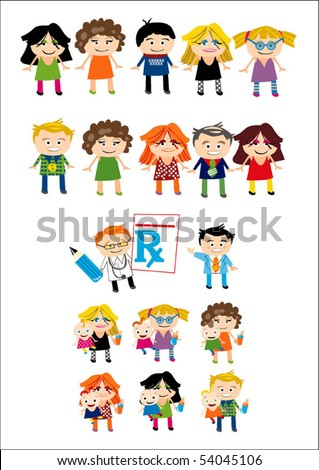 A collection of funny looking cute cartoon people - stock vector