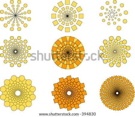 A collection of geometric patterns - stock vector