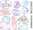 A collection of highly detailed passport stamps, all inspired from real passport stamps, but completely created using Illustrator Software. - stock photo