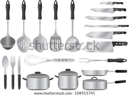 A collection of kitchen utensils. - stock vector