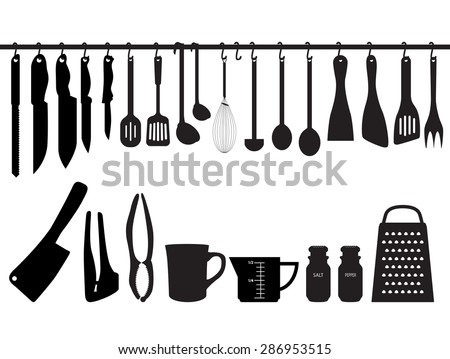 A collection of kitchen utensils, hanging on bar and under the bar. Silhouette Illustration - stock vector