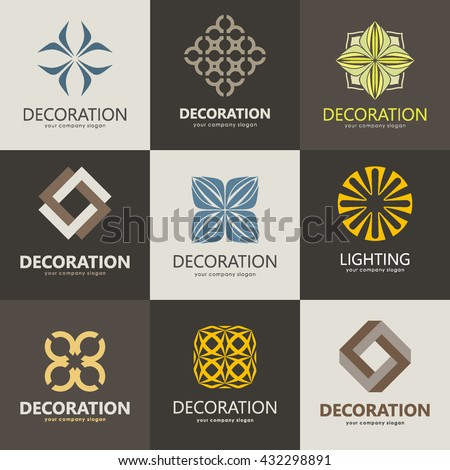 A collection of logos for interior, furniture shops, decor items and home decoration. Set 2 - stock vector