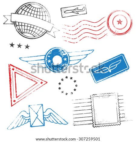 A collection of mixed high quality Passport Stamps Designs. - stock vector