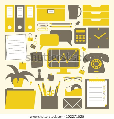A collection of office related objects in yellow, dark grey and white. - stock vector