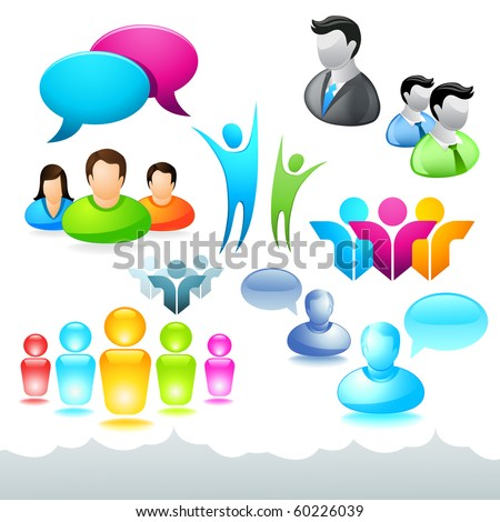 A collection of people icons and elements. - stock vector