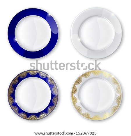 A collection of plates  on a white background. Mesh. Clipping Mask. This file contains transparency. - stock vector