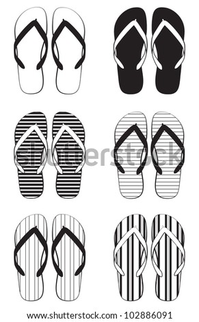 A collection of schematic flip flops - stock vector