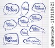 A collection of school style speech bubbles. Background from a writing-book. Vector illustration. Grouped for easy editing. - stock vector