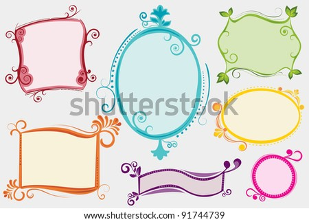 A collection of seven colorful labels/ banners/ placards for your message, in a funky/ retro/ hand drawn style. All labels are neatly grouped on separate layers. - stock vector