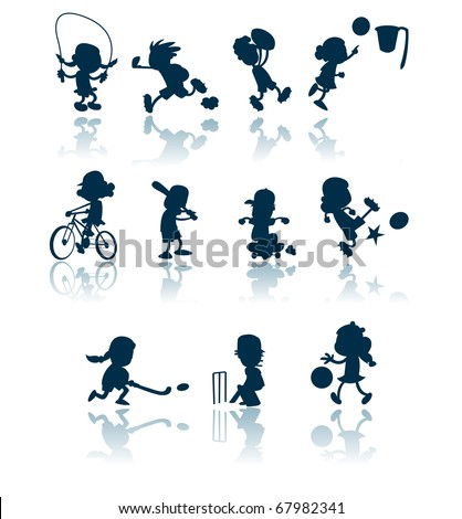 A collection of silhouettes / cutouts of children engaged in various sporting activities. - stock vector