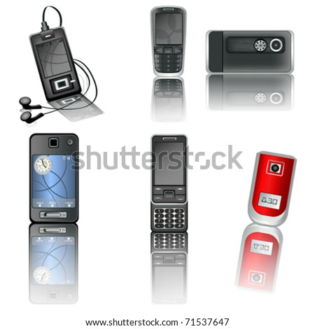 A collection of six illustrated different high detailed cellphones with reflection. - stock vector
