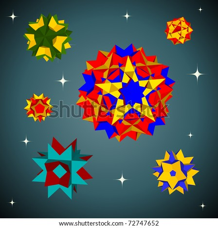 A collection of six star colorful polyhedrons