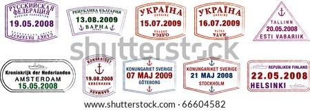 A collection of stylised vector Northern European passport stamps on a white background. - stock vector