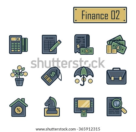 A collection of stylish modern flat icons with thick dark outlines for finance, banking and accounting. For web, presentation, stickers, etc.