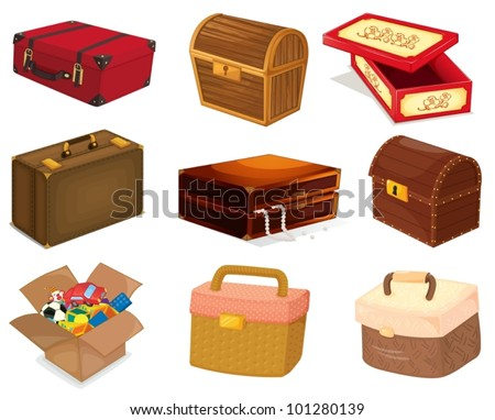 A collection of various bags and boxes - stock vector