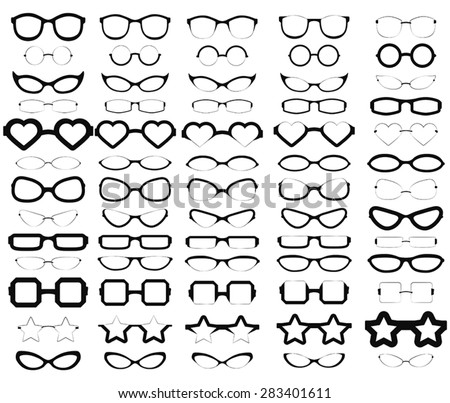 A collection of various styles of glasses in solid black. - stock vector