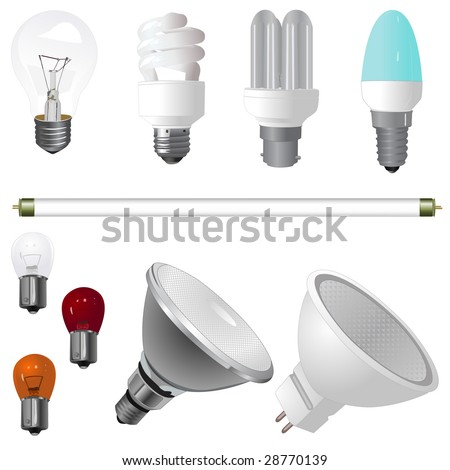 A collection of various type of light bulbs - stock vector