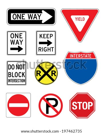 A collection of various vector road and traffic signs - stock vector