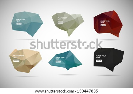 A collection of vector abstract polygonal 3d speech bubbles - stock vector