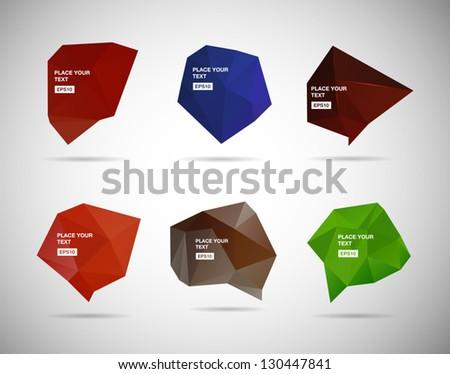 A collection of vector abstract polygonal 3d speech bubbles - stock vector