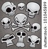 A collection of vector cartoon skulls in various styles. - stock vector