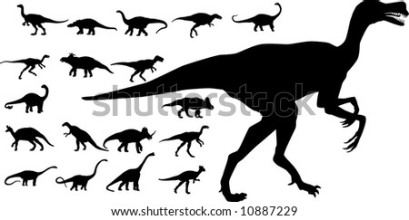 A collection of vector dinosaurs - stock vector