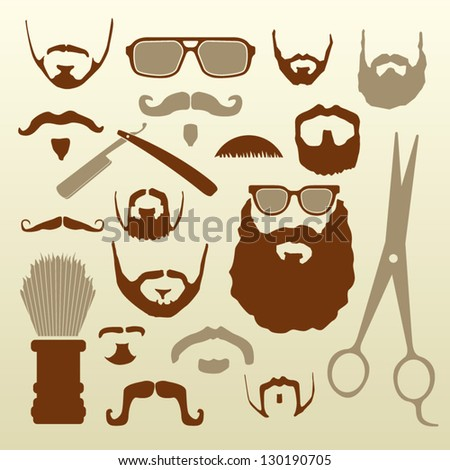 A collection of vector facial hair icons, barber tools, and hipster glasses.